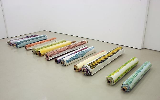Polly Apfelbaum Bones, 2000 synthetic velvet, fabric dye, cardboard dimensions variable