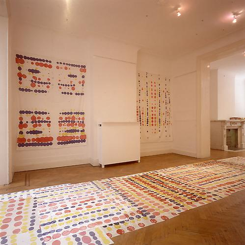 Polly Apfelbaum Wonderbread, 1993 synthetic crushed stretch velvet and dye dimensions vary with installation, approx. 20 by 5 feet