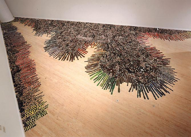 Polly Apfelbaum Split , 1998 synthetic crushed velvet, dye dimensions vary with installation