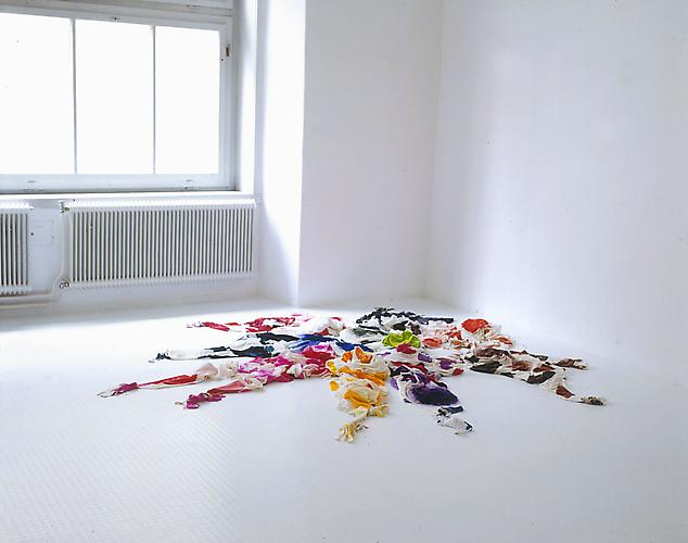 Polly Apfelbaum Fine Flowers in the Valley, 1992-3 three sections: crushed stretch velvet, torn sheeting, and dye dimensions variable