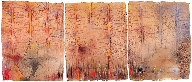 Abandoned Forest (Broken Boat), 2012  Triptych, pastel on handmade paper Overall: 34 5/8 x 82 5/8 in./ 88 x 210 cm, Signed by the artist  Price upon request