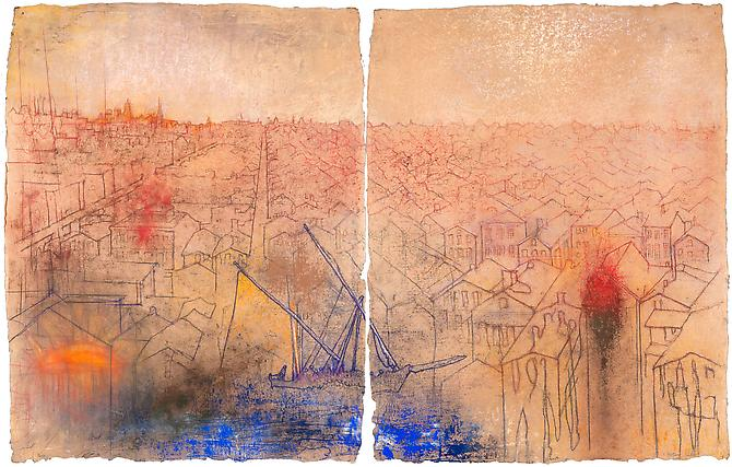 Landing, Chicago , 2011 Diptych, pastel on handmade paper Overall: 55 1/8 x 35 in., Signed by the artist  Price upon request