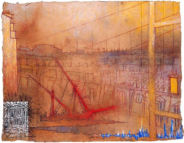 Paris Landing, 2011  Pastel on handmade paper 26 13/16 x 34 5/8 in., Signed by the artist  Price upon request