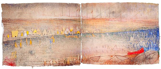 The Nile (pour Sarah) , 2012 Diptych, pastel on handmade paper Overall: 35 x 55 15/16 in., Signed by the artist  Price upon request