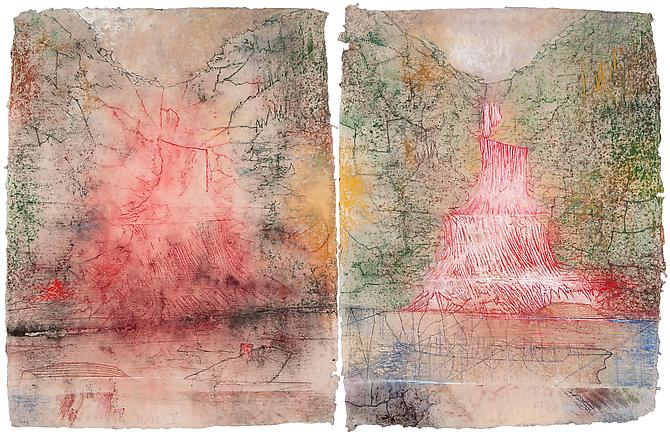 WWI - WWII, 2012  Diptych, pastel on handmade paper Overall: 35 7/8 x 56 3/8 in., Signed by the artist  Price upon request