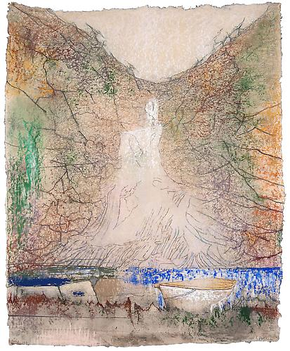 Waterfall, 2012  Pastel on handmade paper 35 1/8 x 28 3/8 in., Signed by the artist  Price upon request