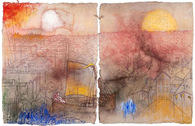 Yellow Sail, Chicago, 2011  Diptych, pastel on handmade paper Overall: 35 ½ x 55 1/8 in., Signed by the artist  Price upon request
