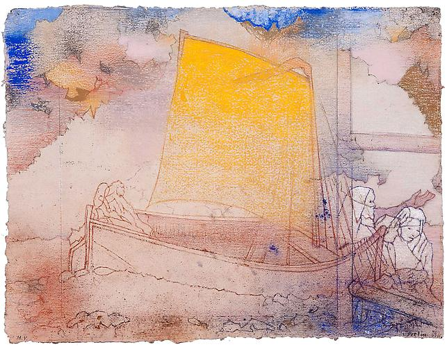 Yellow Sail (après Redon), 2011  Pastel on handmade paper 19 ¾ x 28 in., Signed by the artist  Price upon request