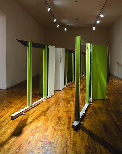 Heather Rowe Green Desert, 2006 floor boards, glass, mirrors, sheet rock, found frames, and shag carpet 67 x 248 x 88 inches