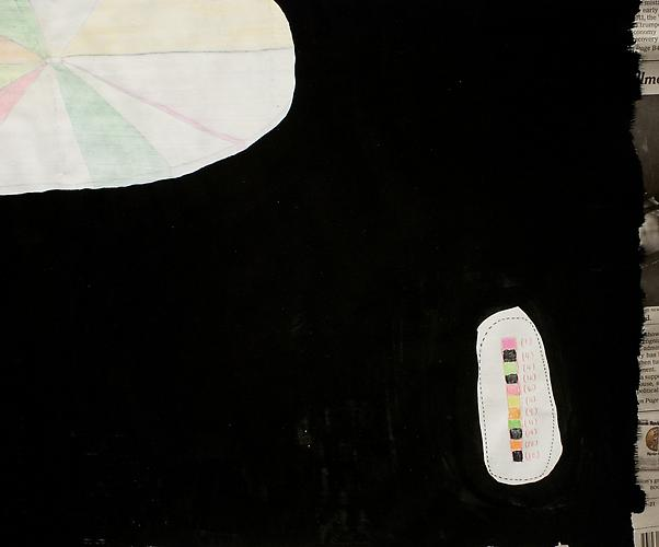 Nuderwater Pie Charting , 2012, detail, mixed media on paper, 21 x 24.25 inches