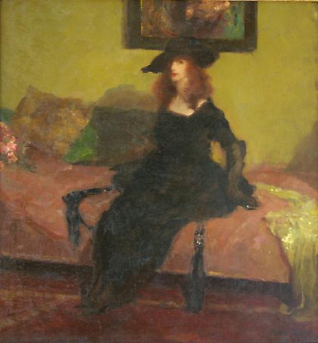 Elegant Woman on a Divan, 1919 Oil on canvas, 30 x 28 inches Signed lower right: Gino Parin Price upon request