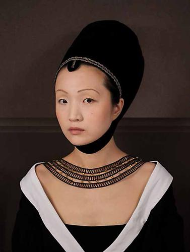E2: Elizabeth Kleinveld and Epaul Julien  Ode to Petrus Christus' Portrait of a Young Woman , 2012 Ilford Gold Fibre Silk Print 24 x 17 inches
