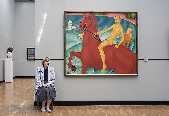 Andy Freeberg,  Kuzma Petrov-Vodkin's Bathing of a Red Horse, State Tretyakov Gallery , 2008 Archival pigment print