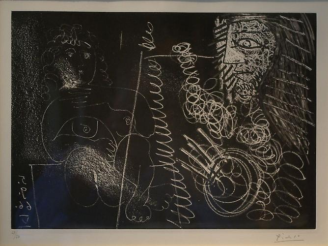 Peintre and Modele, 1966 Etching and aquatint on paper, 13 x 15 inches  Numbered 29/50 and signed lower right: Picasso