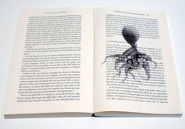 Kant And The Platypus , 2005, installation view, ballpoint on book, 8 x 5.25 inches