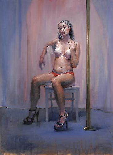 Jorg Dubin Pole dance, Amber, 2011 Oil on linen 54 x 40 inches