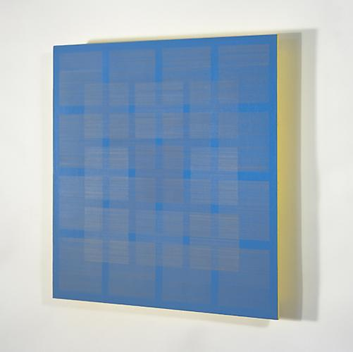 Polyphony VII, 2013 Silver/gold/copperpoint, acrylic, blue, and yellow gesso on paper on panel 16 x 16 inches