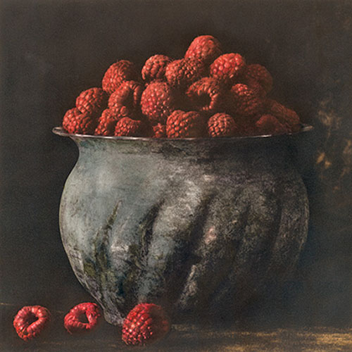 Pot of Raspberries 2009 Hand painted gelatin silver print
