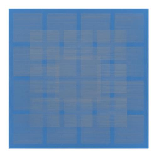 Polyphony VI, 2013 Silver/gold/copperpoint and blue gesso on paper on panel 16 x 16 inches