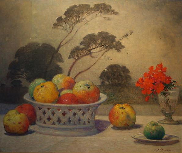 Nature Morte, c. 1890 (Still Life with Fruit and Flowers in a Breton Landscape) Oil on canvas, 20 x 24 inches (50.8 x 61.cm) Signed lower right: F. du Puigaudeau