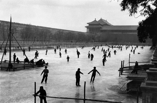 Skating in front of the Forbidden City, China 1957 Gelatin Silver Print