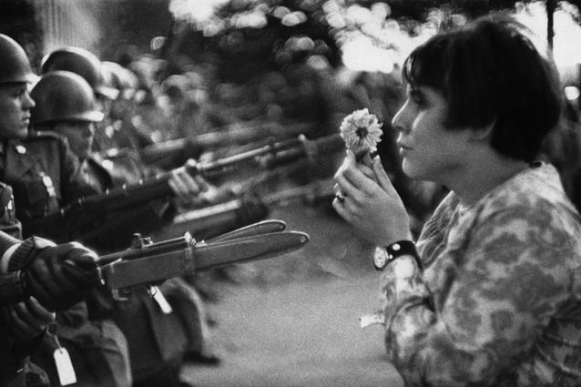 Young girl with flower in a demonstration against the war in Vietnam, Washington, USA 1967 Silver Gelatin Print