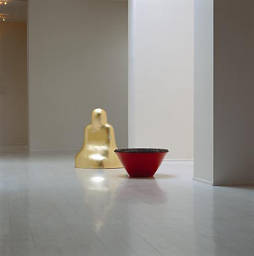 Red Bowl, 1995 cast iron, gold leaf and paint 36 x 72 x 36 inches