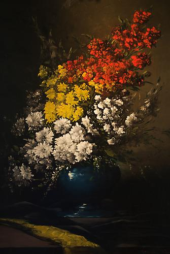 Flowers in a Blue Vase Oil on canvas, 36 x 28 inches Signed lower right: Germain Ribot Price upon request