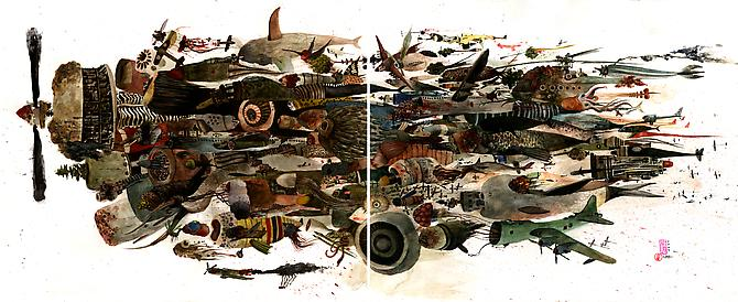 Downstream Death Machines, 2009 Watercolor & ink on bristol 14 x 34 inches
