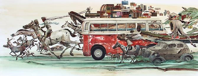 Ghost Ride, 2011 Watercolor on Mohachi paper 35 x 84 inches