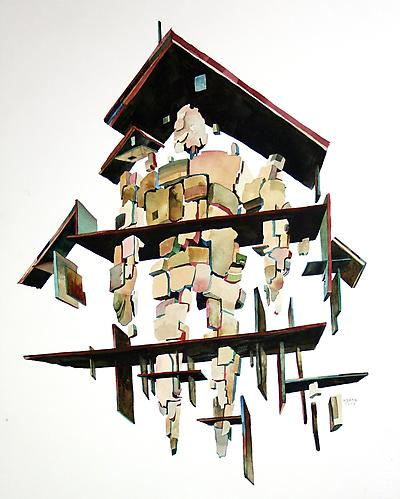 House Arrest, 2012 Watercolor on Fabriano Artistico 14.5 x 19.5 inches