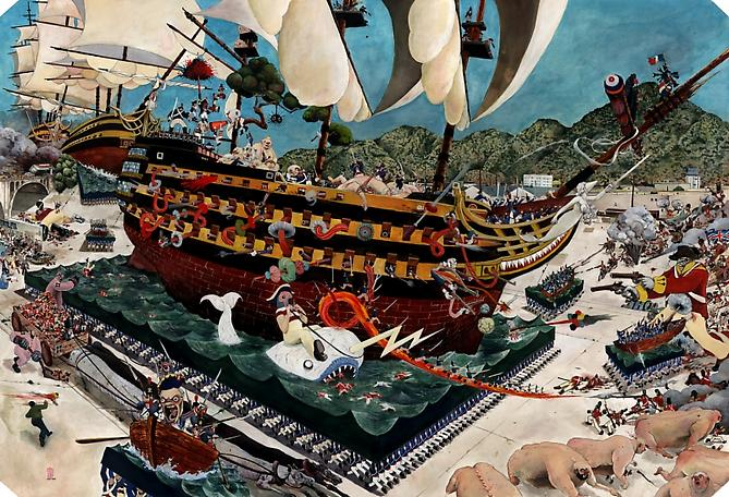 Rob Sato Land Admiral Lefebvre's Fleet Makes Sail in the New World, 2008 Mixed media on paper 30 x 44 inches