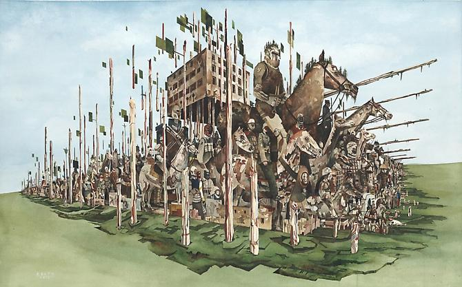 Rob Sato The Mad March, 2012  Watercolor on Arches 20 x 32 inches