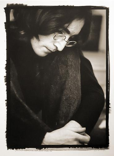 "John Lennon Listening to the ""White Album,"" London 1968 Platinum/Palladium print"