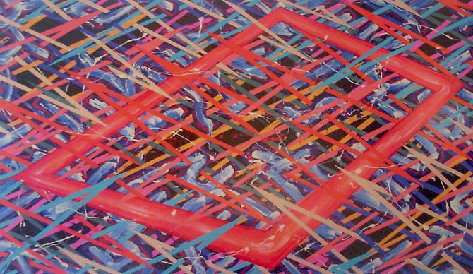 #2-1085, 1985 Acrylic on canvas  57 x 96 inches