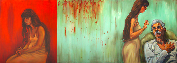 Nasty Skirt (2010)  -  Enquire  Acrylic & Oil on Canvas 100 x 280 cm