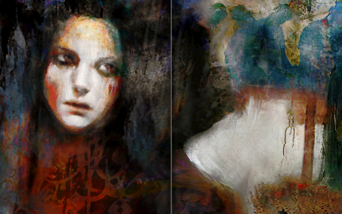 "Heads in the Sand (2012) -  Enquire  Mixed Media on Canvas (Diptych) 48 x 60 "" ea."