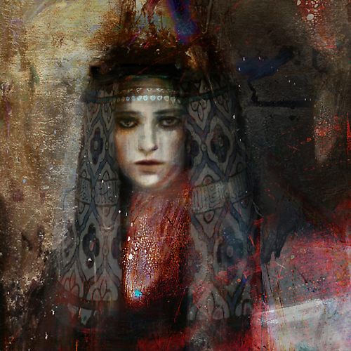 Damascus Queen #4 (2012)  -  Enquire  Mixed Media on Canvas 48 x 48 ""