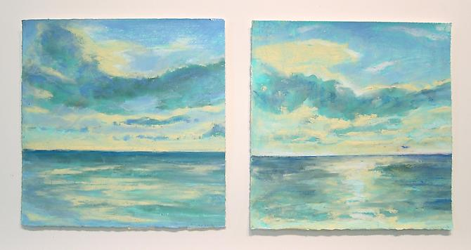Sea Sky, St. Lucia, 2011 Oil pastel and stick on paper 10 x 22 inches