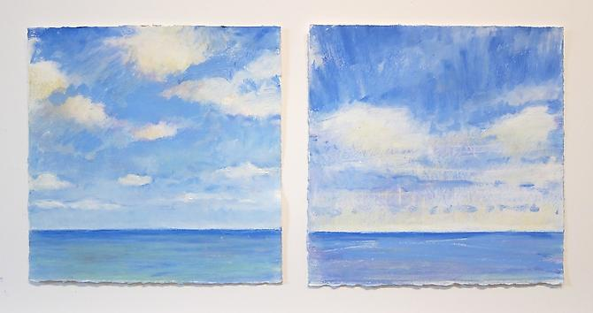Sea Sky Studies, Early Morning, 2011 Oil pastel and stick on paper 10 x 22 inches