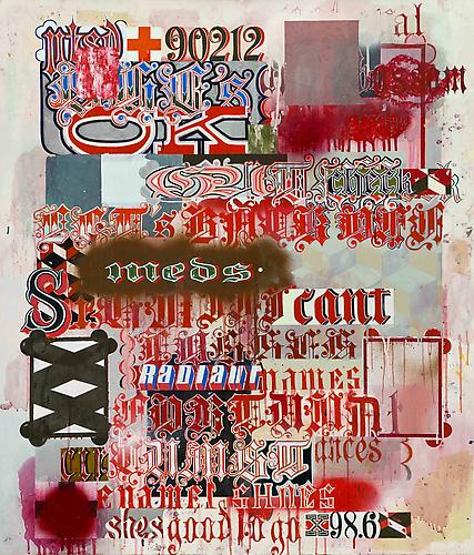 She's OK, 2007-2010 oil, spray paint and alkyd resin on paper on panel 44 x 36 inches