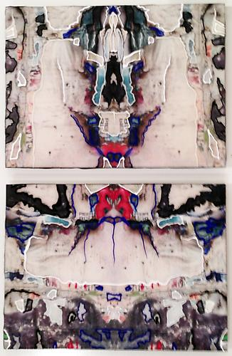 Shred Mandala Diptych I, 2013 C-print, resin, acrylic on panel 11 1/2 x 8 inches