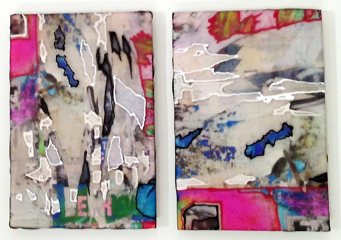 Shred Study Diptych II, 2013 C-print, resin, acrylic on panel 6 x 8 inches