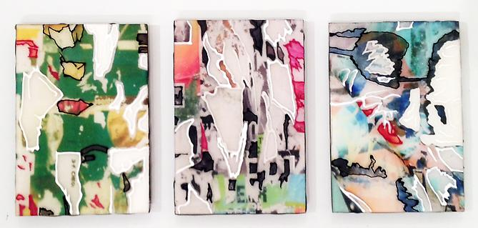 Shred Study Triptych I, 2013 C-print, resin, acrylic on panel 6 x 12 inches