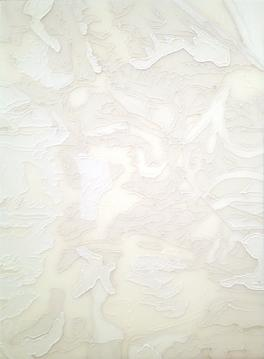 Shred in White I, 2013 Resin and acrylic on panel 19 1/2 x 17 1/2 inches