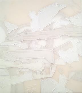 Shred in White III, 2013 Resin and acrylic on panel 19 3/4 x 17 1/4 inches