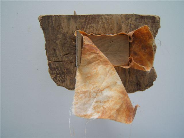 "Paul Bowen, 2012  Soft Shim , wood and fabric 9"" x 9"" x 8"""