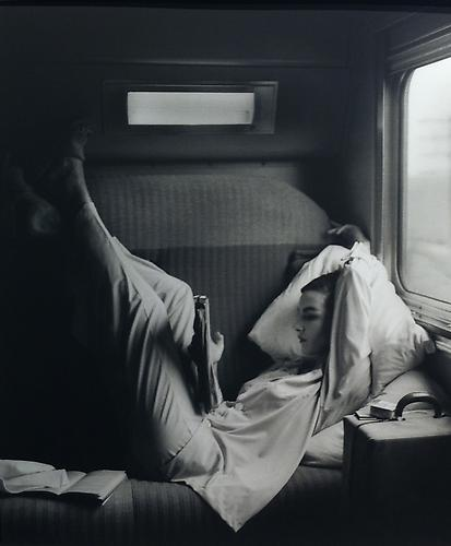 Southwest Passage- Sunset Pink: Model in pajamas by Kickernick, Harper's Bazaar 1951 gelatin silver print