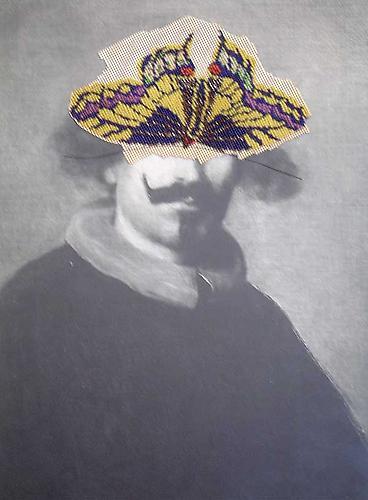 "Varujan Boghosian, 2007  The Spanish Grandee , collage 13"" x 17.75"""