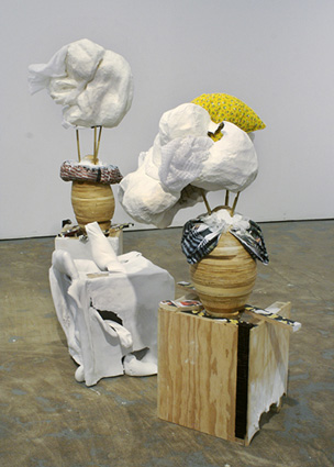 JILL SPECTOR  Afterall, Break It Down, Below Your Mind , 2009 Wood, plaster, cheesecloth, wire, cardboard, papier-mâché,  fabric, batting, paint, and color photocopy Dimensions variable